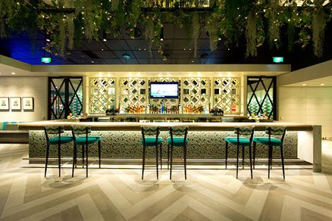 Bar from a distance   Funky chic Moroccan feel great use of colours , textures ,could sit here for hours and relax!