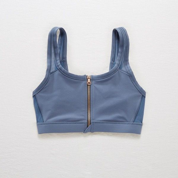 Aerie Move Zip-Front Sports Bra ($30) ❤ liked on Polyvore featuring activewear, sports bras, blue, seamless sports bra, zipper front sports bra, zip sports bra, blue sports bra and zipper sports bra