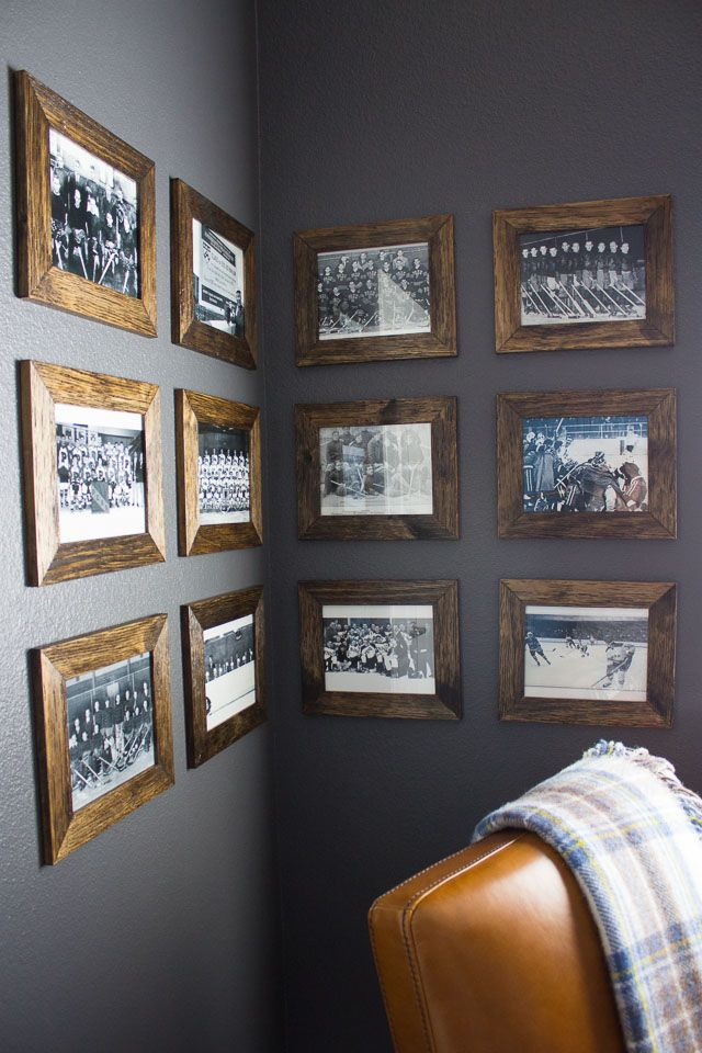 Man cave gallery wall with vintage hockey photos