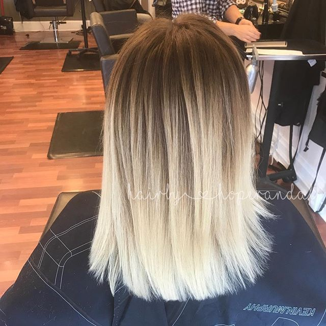 Straight Blended Blonde Balayage Straight Blonde Hair Ombre