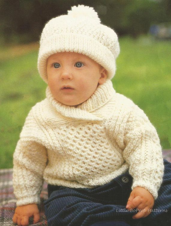 Baby Aran Jumper Sweater and Hat to fit chest 18 -24ins (46-61cm) - PDF knitting pattern  In four chest sizes 18-20-22-24 inches (46-51-56-61cm),