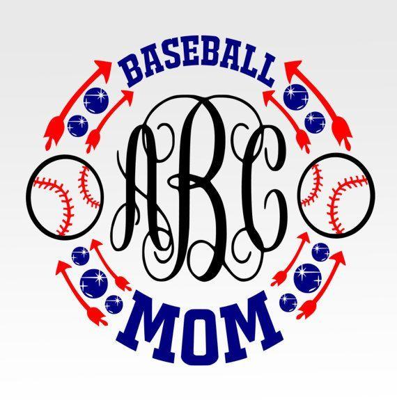 Baseball Mom Monogram SVG DXF png jpg digital cut file for
