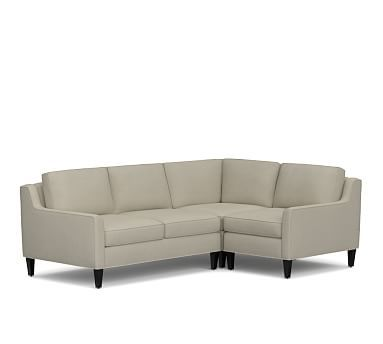 Beverly Upholstered Left Arm 3 Piece Corner Sectional, Polyester Wrapped Cushions, Premium Performance Basketweave Oatmeal