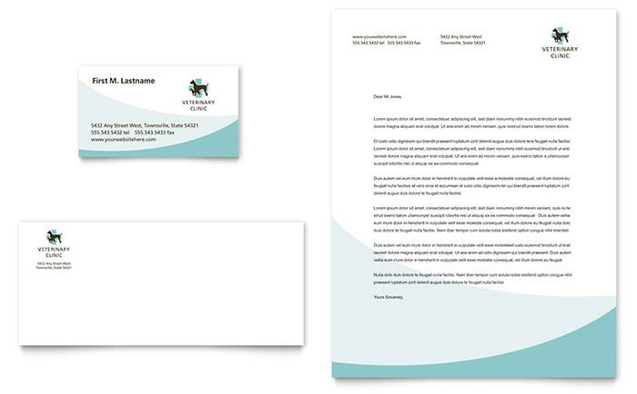 Vet Clinic Business Card and Letterhead Template Design by StockLayouts