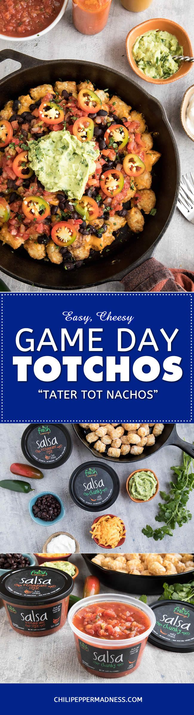Easy Cheesy Game Day Totchos (Tater Tot Nachos) - #sponsored Energize your game day gatherings with this easy, cheesy recipe of crispy tater tots smothered with black beans and melty cheddar cheese, topped with chunky Fresh Cravings Salsa, jalapenos and guacamole.  #FreshCravingsSalsa