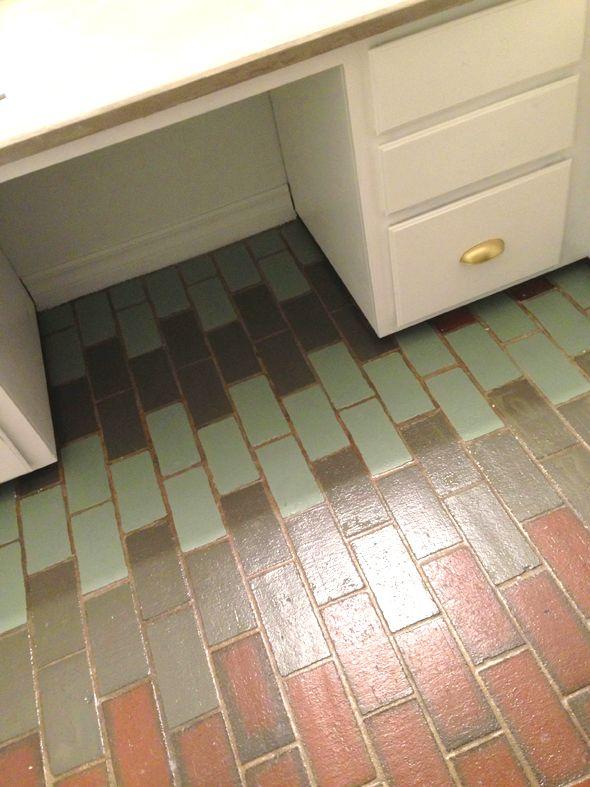 Painted faux saltillo tiles home pinterest for Paint linoleum tile floor