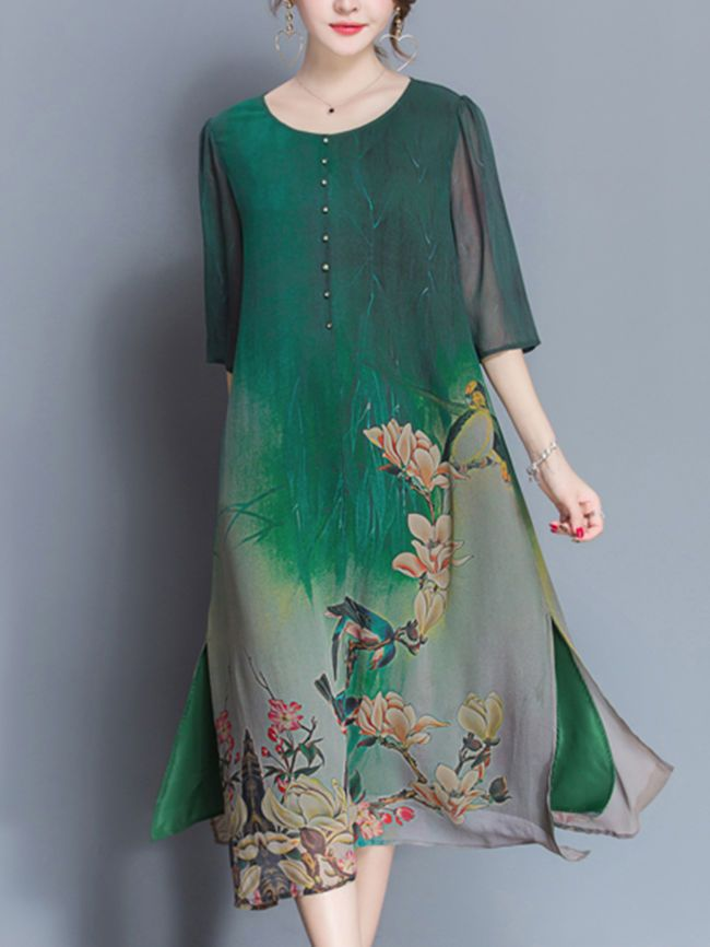 Buy Round Neck Side Slit Floral Hollow Out Shift Dress online with cheap prices and discover fashion Shift Dresses at Fashionmia.com.