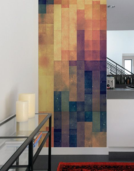 Pattern Wall Tiles by graphic designer Spires for Blik are sophisticated, geometric designs that bring color and depth to walls.