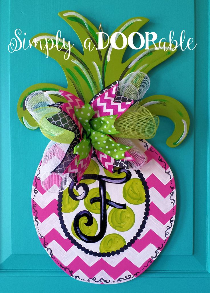 Simply aDOORable Pineapple Wood Door Hanger Summertime Wood Door Hanger Hot Pink Pineapple Door Decor (40.00 USD) by SimplyaDOORableNC