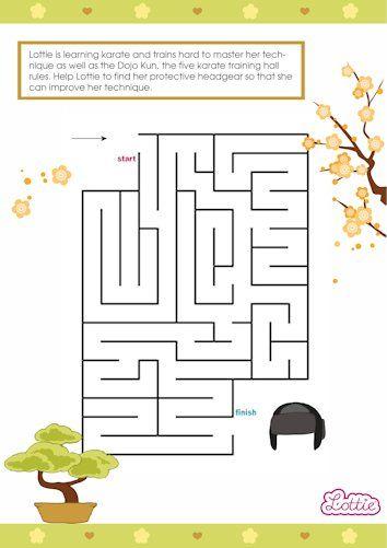 Kawaii Karate Lottie doll maze game for kids #free #printables Download at www.lottie.com/create/