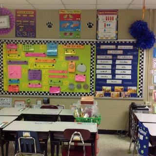 Mountain math and reading vocabulary wall with handmade tissue paper flowers. They were sooo much fun to make!!! Looks good too! :-)