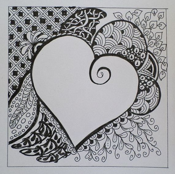 Heart for Valentine day in Zentangle stile made of Erika Székesvári
