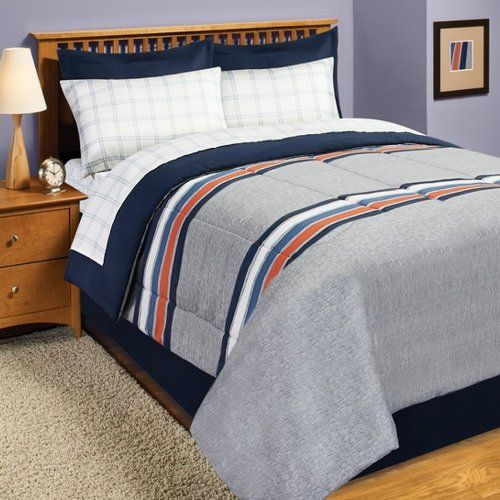 Gray Blue Orange Rugby Stripe Twin Comforter Set 6pc Bed