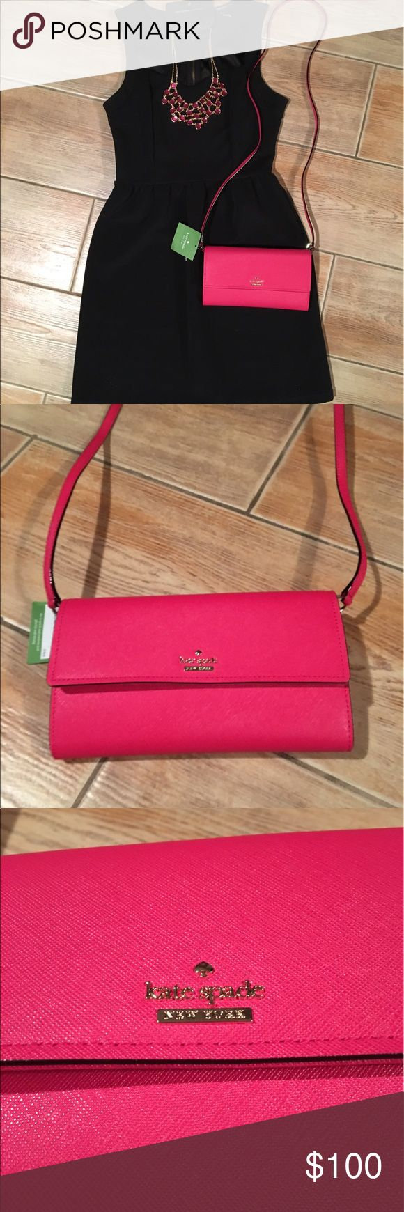 """🎉SALE🎉 NWT Kate Spade Crossbody BRAND NEW, GORGEOUS 🎀♠️ Kate Spade leather crossbody wallet with snap closure! Style is called """"Cameron Street Stormie"""" and the color is called """"punch"""". It's a bright and bold watermelon color! 🍉 there's a black and white stripe print fabric on the interior of the zipper pocket and the secret pockets inside for cash. Strap is removable. Trendy and the perfect size for a night on the town. Last photo is the full details of the crossbody on the Kate Spade…"""