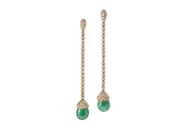 Orecchini con cabochon di smeraldo e diamanti