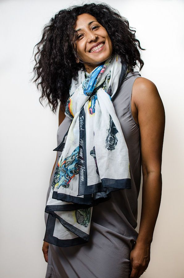 Maria wears This Way To Heaven car scarf designed by Anna-Louise Felstead