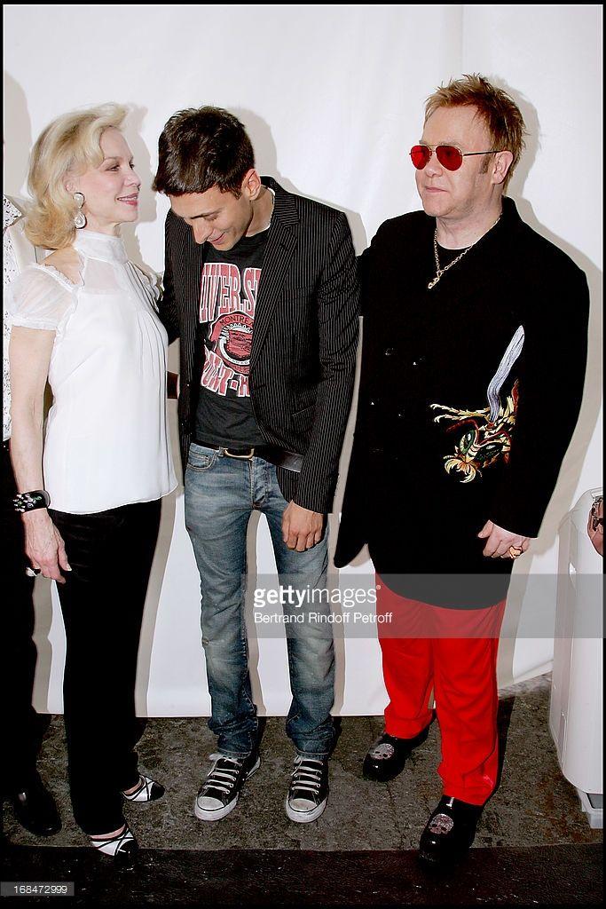 Lynn Wyatt, Hedi Slimane and Elton John - Dior fashion show masculine collections spring summer 2007.