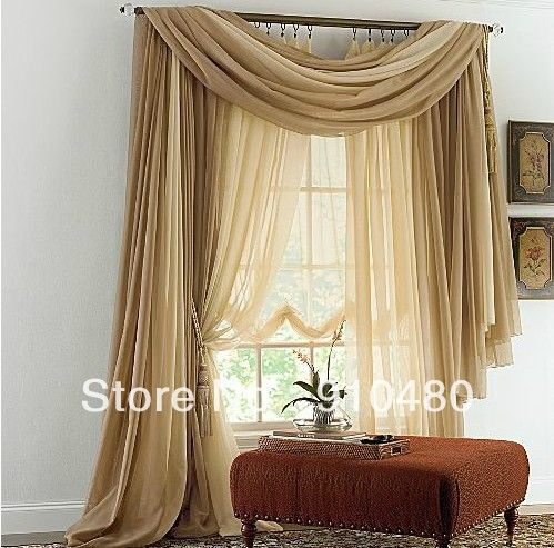 Luxury Sheer Cafe Curtains Scarf Valance Custom Made Curtain For Living Room Width 150cm