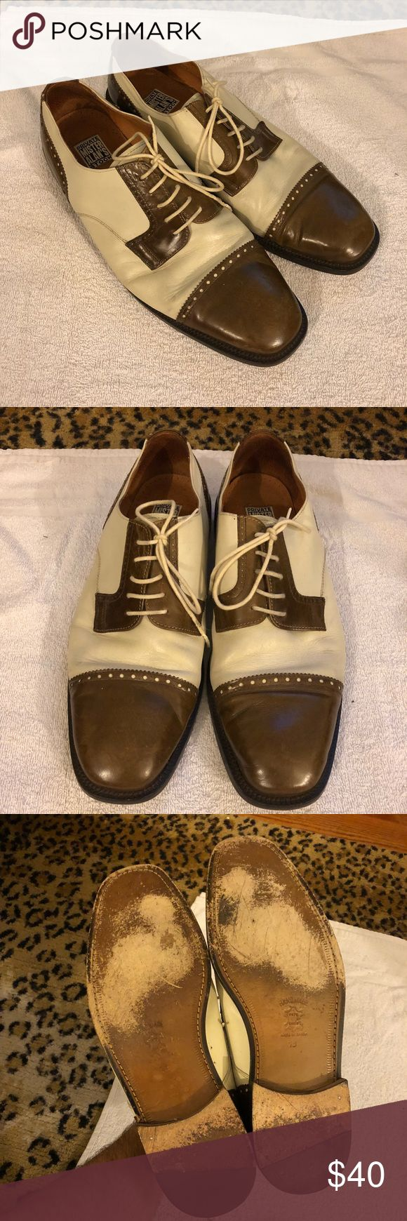 Mister Alan's Brown & Cream Cap-Toe Oxfords 13 M Mister Alan's Private Stock Brown and Cream Cap-Toe Oxfords size 13 M! Great condition! Please make reasonable offers and bundle! Ask questions :) Mister Alan's Shoes Oxfords & Derbys
