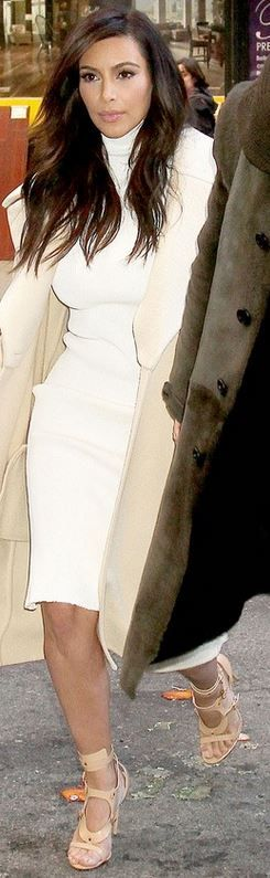 Who made  Kim Kardashian's nude sandals and coat that she wore in New York?