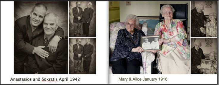 My amazing uncles on the left and Alice, Mary on the right. The book show cases Twins from the ages of 10 days old to Alice & Mary 98 years old www.zedphotography.com.au