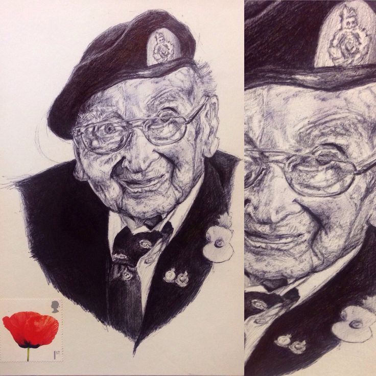 Black pen ink portrait ... Lest we forget ... Artist Frances Waddington