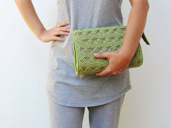 Apple Green Knitted Leather Clutch Purse Bag by StarBags on Etsy