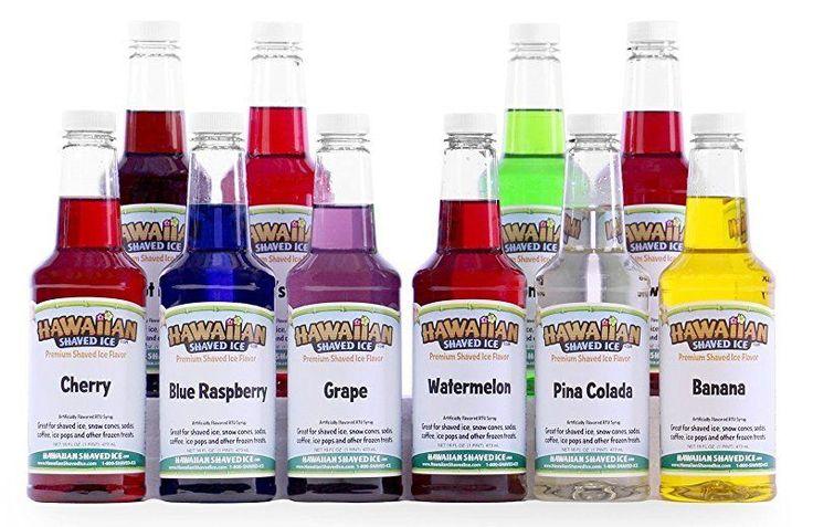 Hawaiian Shaved Ice 10 Flavor Pack of Snow Cone Syrup, 10 Pints #HawaiianShavedIce