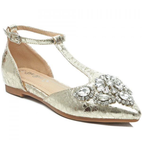 Stylish T-Strap and Rhinestones Design Women's Flat Shoes