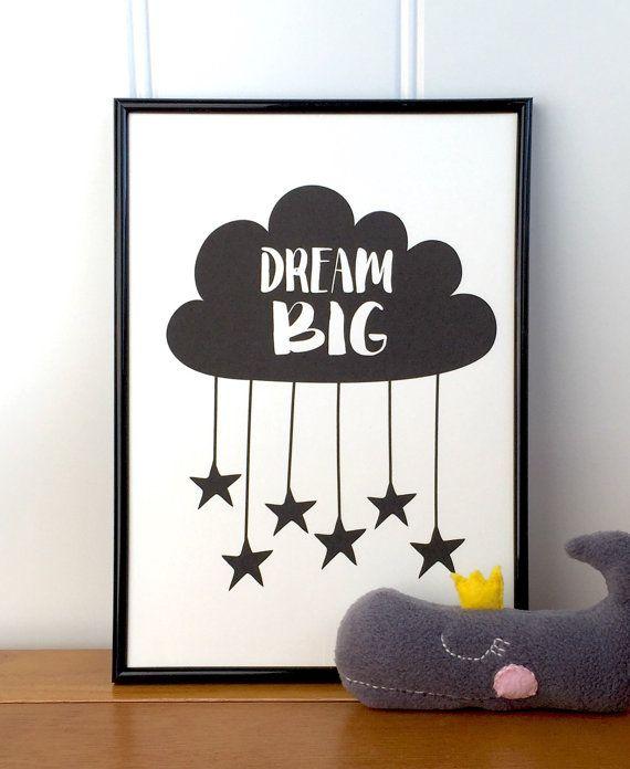 Nursery print Dream big. Monochrome nursery decor black and white. Monochrome nursery print. Kids wall art