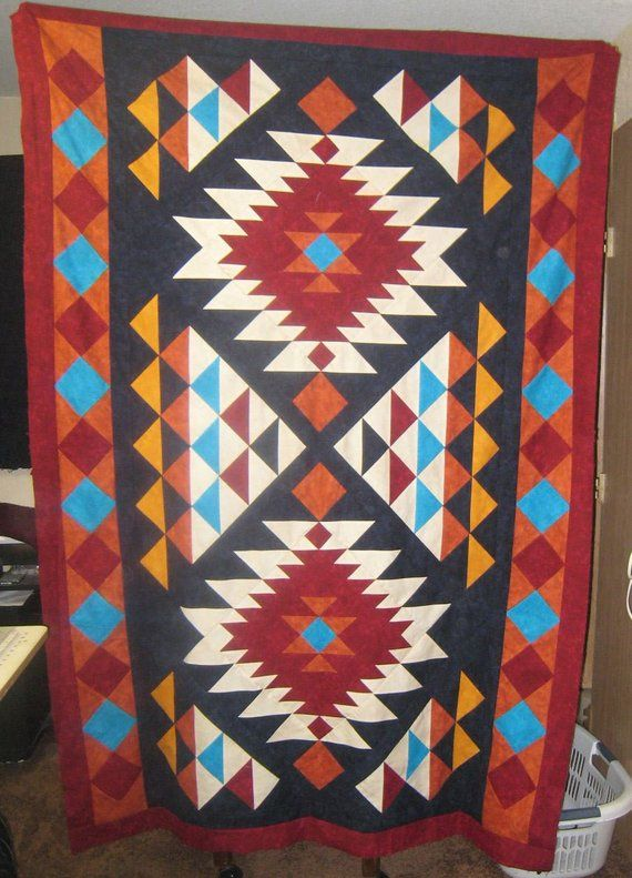 Southwest Quilt Pattern Navajo Inspired Indian Native Etsy Native American Quilt Patterns Native American Quilt Southwest Quilts