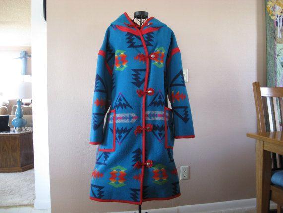 """Reversible Pendleton Wool Blanket Coat (Blanket/Robe Pattern is """"Chief Joseph"""")"""