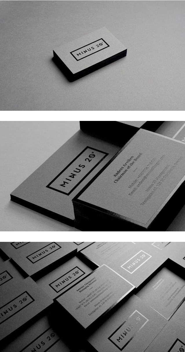 Minus 20 Management by The Forgery | Stationery, black gloss print on black matt stock