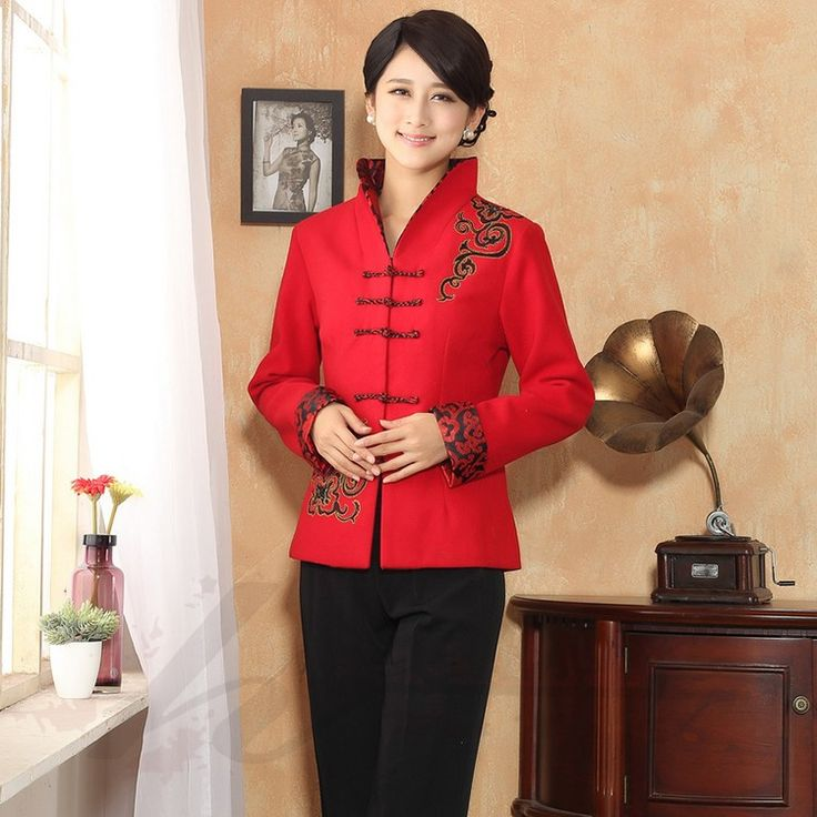 Elegant Open Neck Frog Button Chinese Tang Jacket - Red - Chinese Jackets & Coats - Women