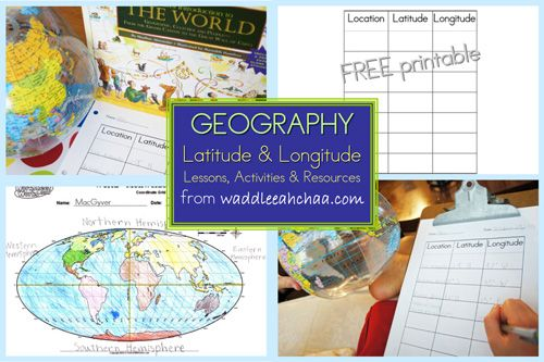 """LOVE this Latitude/Longitude Scavenger Hunt lesson plan! And love the book she uses, too, """"A Child's Introduction to the World"""" for her resource. It is written in such an understandable way!!"""