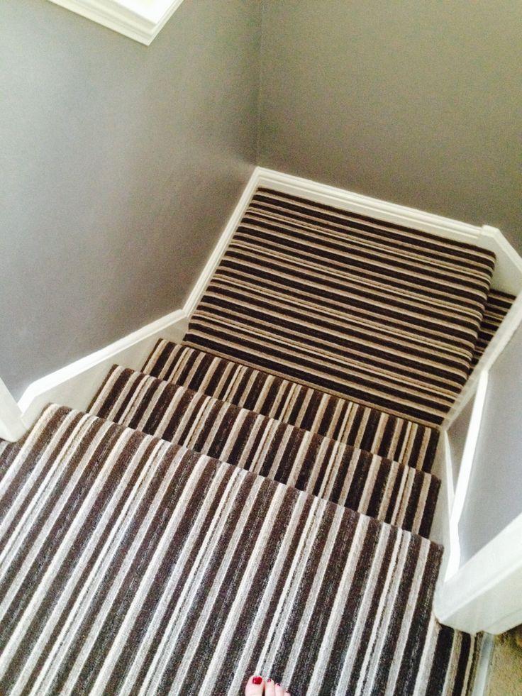 Stripe landing and stair carpet