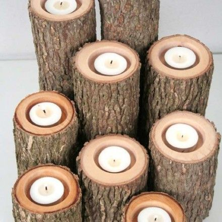 Waxinehouder van boomstam