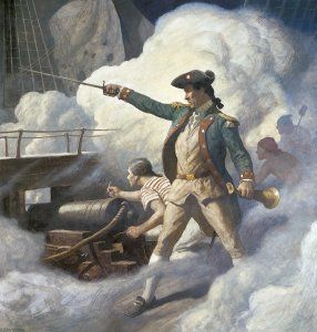 "John Paul Jones,a Scottish sailor  was the first naval fighter in the American Revolution .sometimes referred to as the father of the U.S. Navy.His well known statement is ""I have just begun to Fight"""