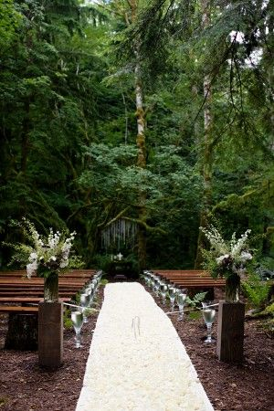 A forest wedding, with rustic benches.