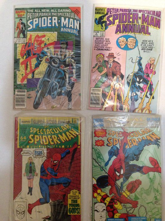 Spectacular Spiderman Annuals from 1984 4,6,8, 11  Nice set