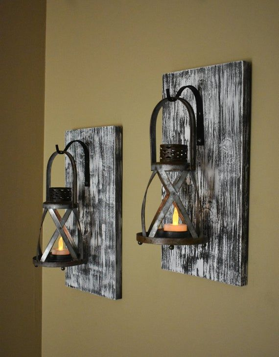 Wall Sconce Light Rustic Home Decor Rustic Candle Sconce Etsy Galvanized Decor Rustic Candle Sconce Lantern Wall