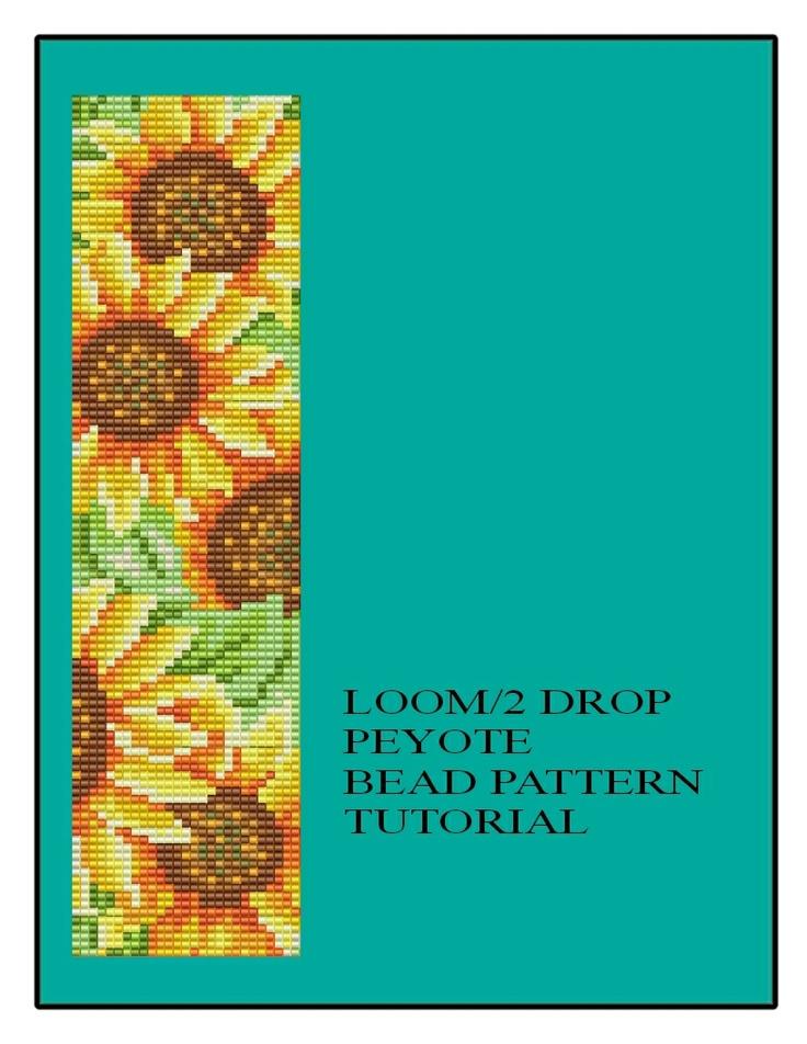 Sunflower Beaded Bracelet Loom or 2 Peyote Tutorial Chart Instructions PDF $5.50  https://www.etsy.com/listing/97970463/floral-sunflower-beaded-bracelet-loom-or