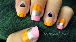 Cute Pencil Nails, via YouTube.