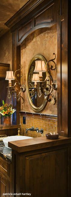 Awesome tuscan bathroom.  So warm...