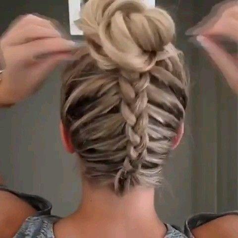 Dutch braid into messy bun!