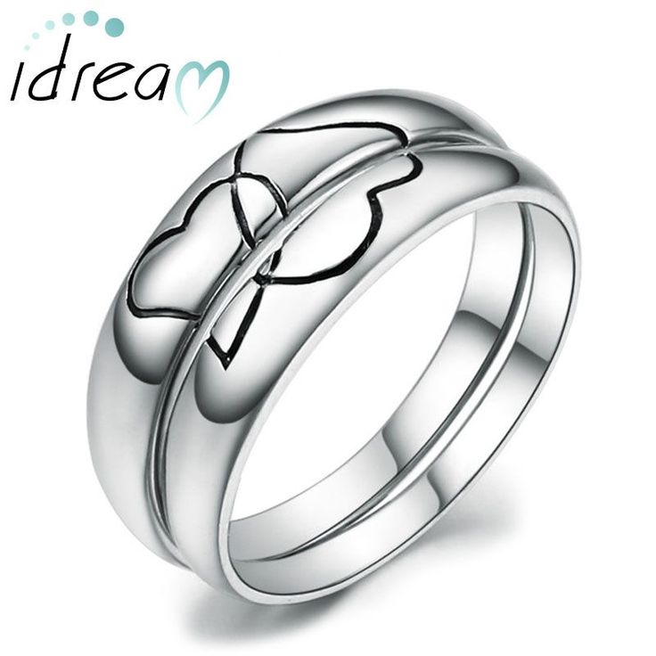 Double Black Interlocking Hearts Puzzle Promise Rings for Couples, Domed Wedding Ring Band in Sterling Silver, Matching Couple Jewelry Set for Him and Her