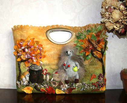 ежик грибник - валяная сумка,ежик,осенняя сумка,осенние листья,осень,Осенний лес