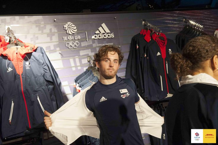 Team GB 2 man bobsleigh athlete, Ben Simmons trying on the new kit