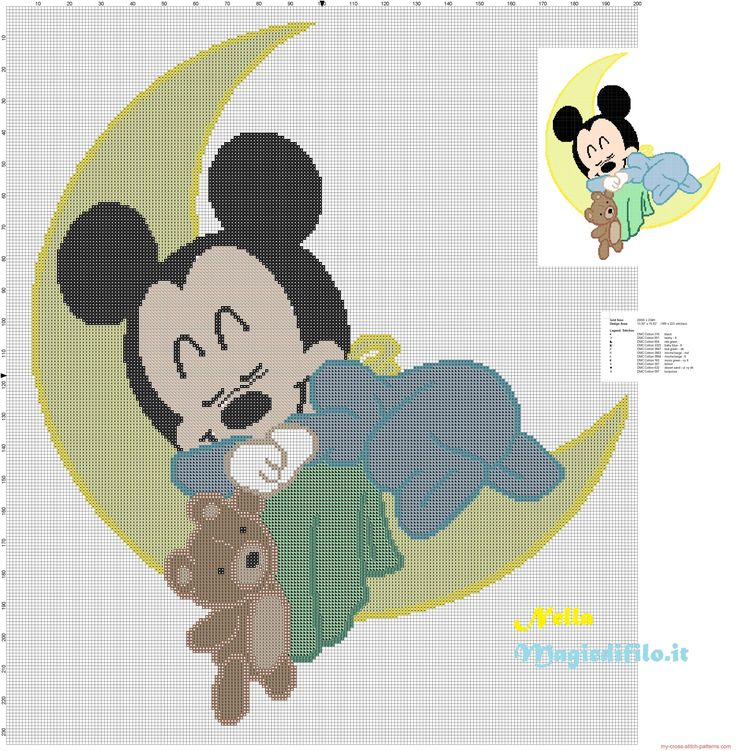 Baby Mickey Mouse sleeping on the moon