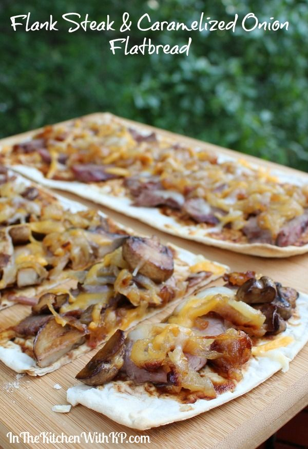 Flank Steak and Caramelized Onion Flatbread #SundaySupper - In The Kitchen With KP | #SundaySupper